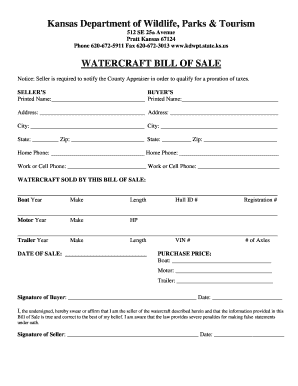 kansas bill of sale form