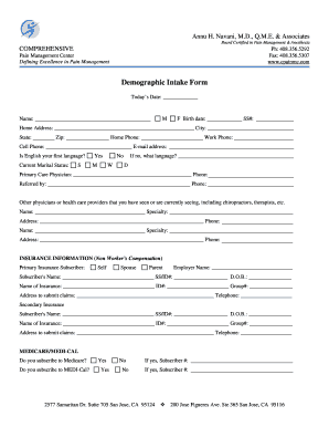 pain management templates - fillable online demographic intake form comprehensive