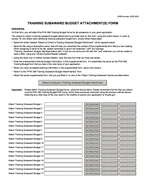 Training subaward budget attachment(s) form - Grants.gov