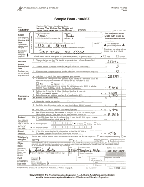 Fillable Online Sample Form - 1040EZ - A+LS Fax Email Print ...