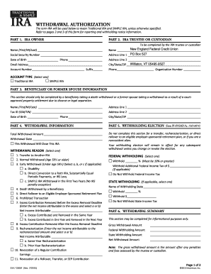 Fillable Online IRA Withdrawal Form - New England Federal Credit ...