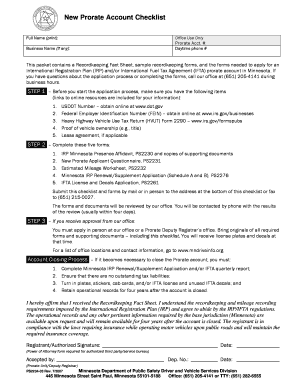 PS2234 New Prorate Account Checklist.doc. forms/publications
