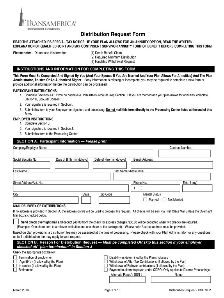 Transamerica 401k Withdrawal - Fill Online, Printable