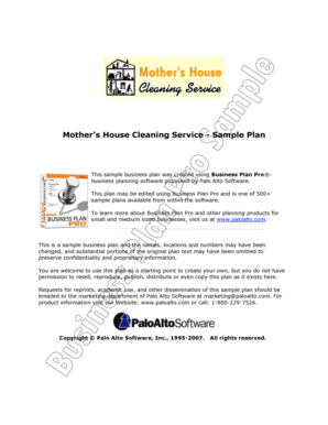 Mother39s House Cleaning Service - bSampleb Plan