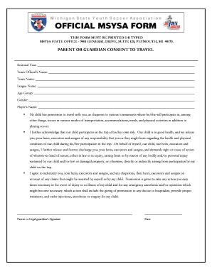 Parent Consent To Travel Form   Michigan State Youth Soccer .  Parental Consent To Travel Form