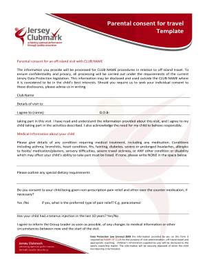Parental consent form template for travel fill out print download jersey clubmark parental travel consent form altavistaventures Images