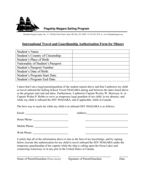International Travel and Guardianship Authorization Form for Minors ... - flagshipniagara