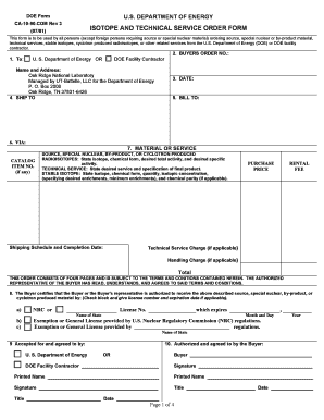 Fillable Online isotopes ISOTOPE AND TECHNICAL SERVICE ORDER FORM ...