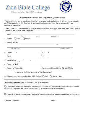 international student pre application questionnaire form