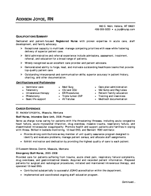 registered nurse resume sample - Fill, Print & Download Online ...