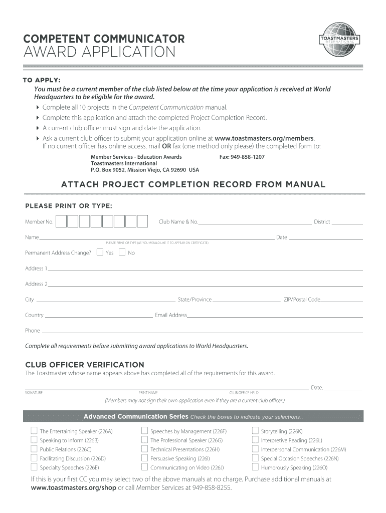 Competent Communicator Award Application - Fill Online, Printable