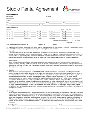 Rental agreement tor studio fill online printable for Dance contract template