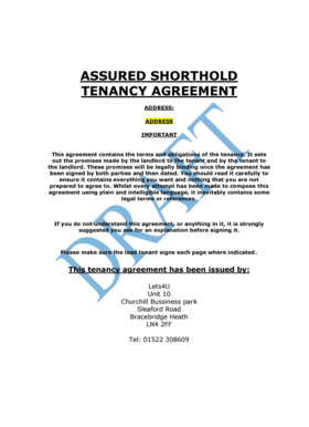 Shorthold Tenancy Agreement Template Pdf