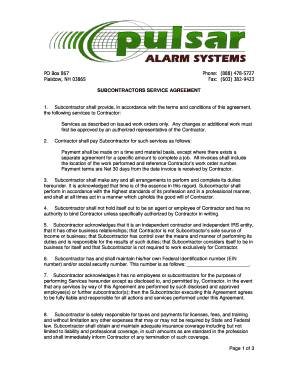 alarm subcontractor agreement fill online printable. Black Bedroom Furniture Sets. Home Design Ideas