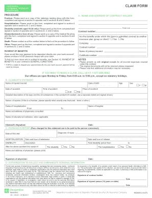 Fillable Online Accirance Claim form - Desjardins Life Insurance ...