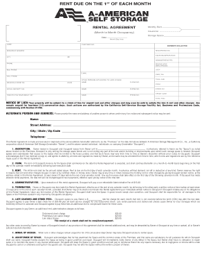 Rental Agreement, Calif 12-02 (Page 1) - A-American Self Storage