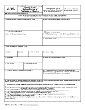Fillable Online EPA Form 3540-1- Notice of Arrival of Pesticides ...
