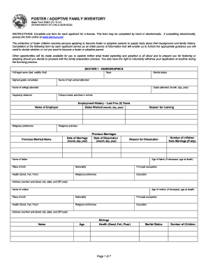 Foster / adoptive family inventory - ICPR: State Forms Online Catalog