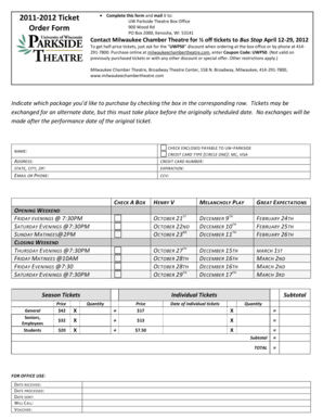 2011-2012 Ticket Order Form - helminthophobia is uwp