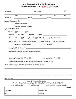 Certificate of scholarship grant forms and templates fillable application for scholarshipaward foundation for pierce college yadclub Choice Image