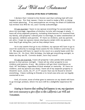Editable California Last Will And Testament Fillable Printable