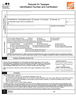 graphic regarding Home Depot Printable Application referred to as House Depot W9 - Fill On-line, Printable, Fillable, Blank