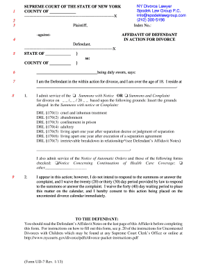 Printable copy of divorce papers ny fill out download forms affidavit of defendant spodek law group solutioingenieria Image collections