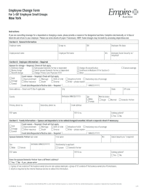 Fillable Online Employee Change Form New York - Empire Blue