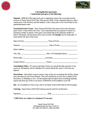 Catering/Rental Agreement. Free Forms for Utah Landlords