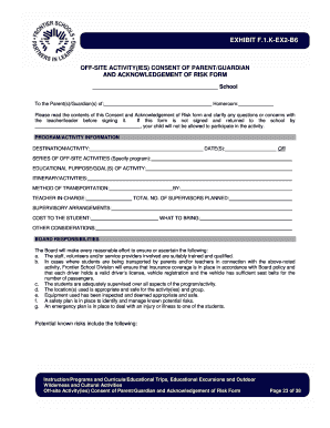Printable Against Medical Advice Form. F.1.K EX2 B6   Off Site Activities  Consent Form