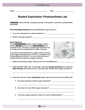 Fillable Online Student Exploration Photosynthesis Lab Fax ...
