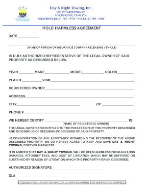 Hold Harmless Letter For Vehicle Release from www.pdffiller.com