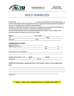 Repossession Hold Harmless - Fill Online, Printable, Fillable ...