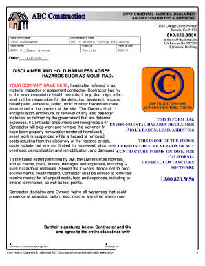 14 Printable Contractor Hold Harmless Agreement Free Forms