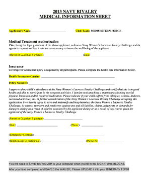 medical waiver navy - Edit, Fill Out, Print & Download