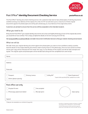 Fillable Online Id Checking Service Form Post Office Fax Email