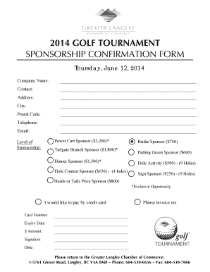 Fillable online 2014 golf tournament sponsorship confirmation form rate this form thecheapjerseys Image collections