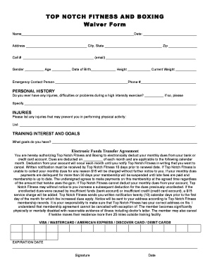 Fillable Online TOP NOTCH FITNESS AND BOXING Waiver Form Fax Email ...