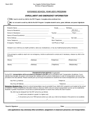 Fillable Online ESY Student Enrollment Form (English). - LAUSD ...