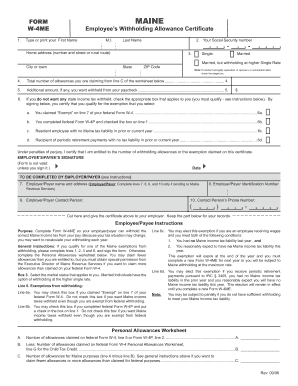 Bill Of Sale Form Maine Form W-4me Templates - Fillable ...