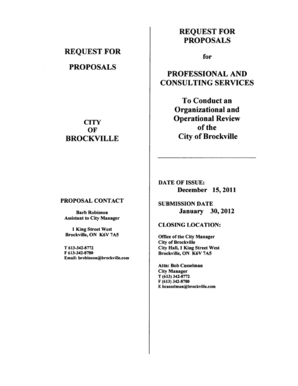 Request for Proposal for Professional & Consulting - City of Brockville