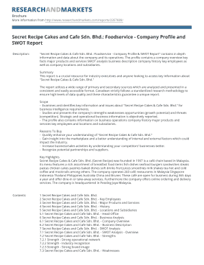 swot analysis of secret recipe cakes Secret recipe cakes and café has over 180 outlets throughout malaysia  they collect the weakness then find and implement the appropriate.