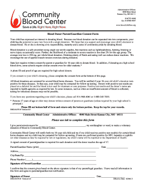 Blood Donor Consent Form  Blank Consent Form
