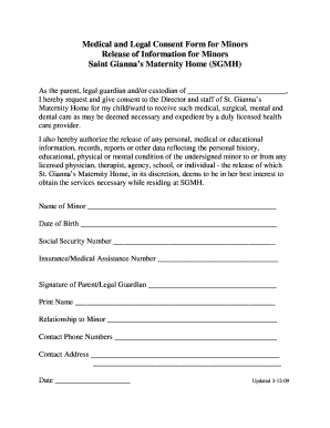 Medical Legal Consent Form for Minors - St. Gianna Maternity Home