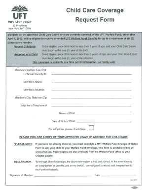 Uft Welfare Fund Child Care Coverage Request Form - Fill Online ...