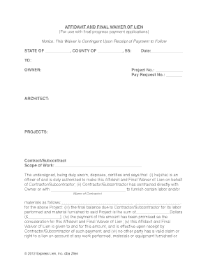 affidavit template lein waiver form