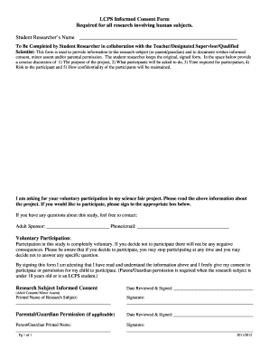 LCPS Informed Consent Form Required for all research involving ... - lcps