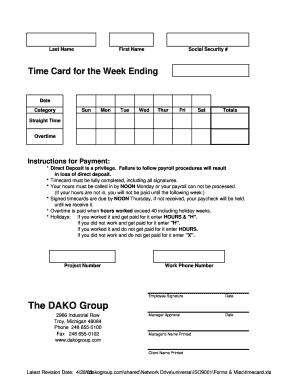 fillable online time card for the week ending dakogroup com fax