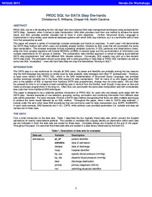Fillable Online PROC SQL for DATA Step Die-Hards - Lex