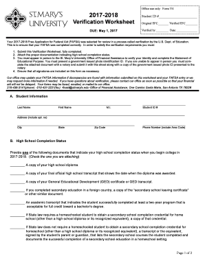 Office use only: Form V4 2017 2018 Verification Worksheet - stmarytx